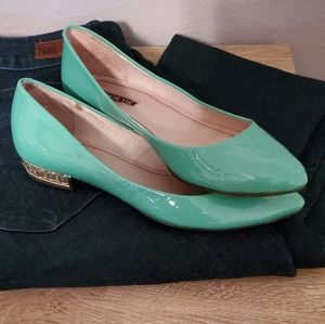 All Black   Mint Patent Leather Flat w Pointed Toe